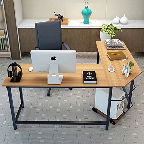 l shape corner computer gaming desk wood steel laptop table workstation office ebay. Black Bedroom Furniture Sets. Home Design Ideas