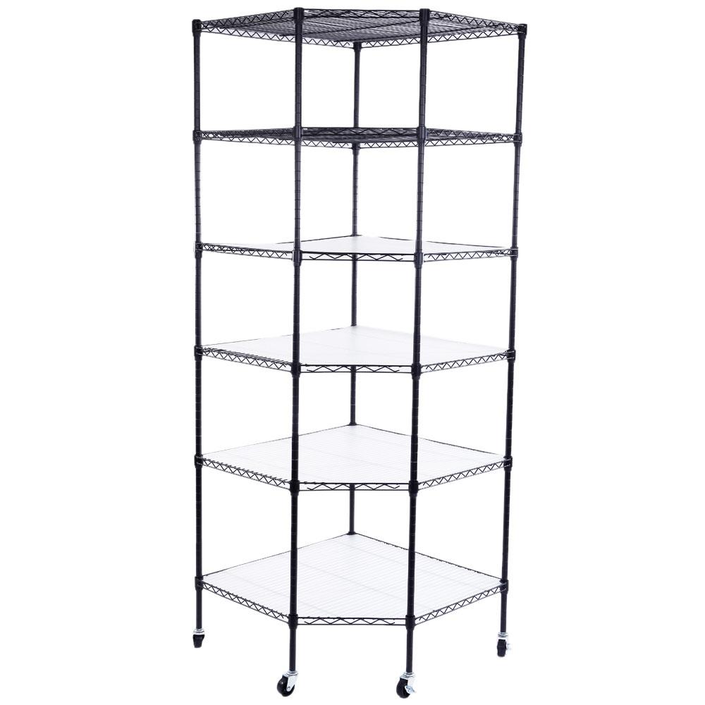 6 Tier Corner Shelf Liners Adjustable Steel Metal Wire Shelving Rack ...