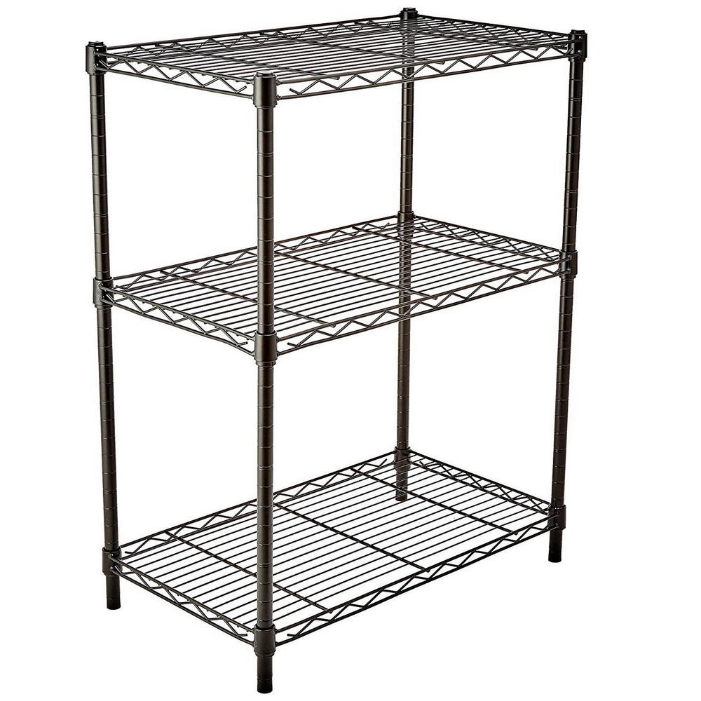 3 Layer Wire Shelving Rack Shelf Adjustable Unit Garage