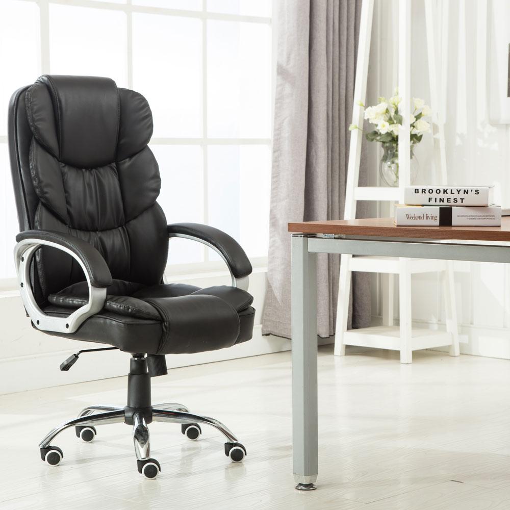 Executive PU Leather Office Chair High Back Ergonomic Computer Desk Task Blac