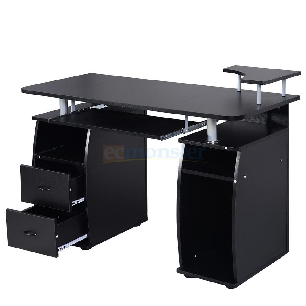 computer pc desk work station office home raised monitor. Black Bedroom Furniture Sets. Home Design Ideas