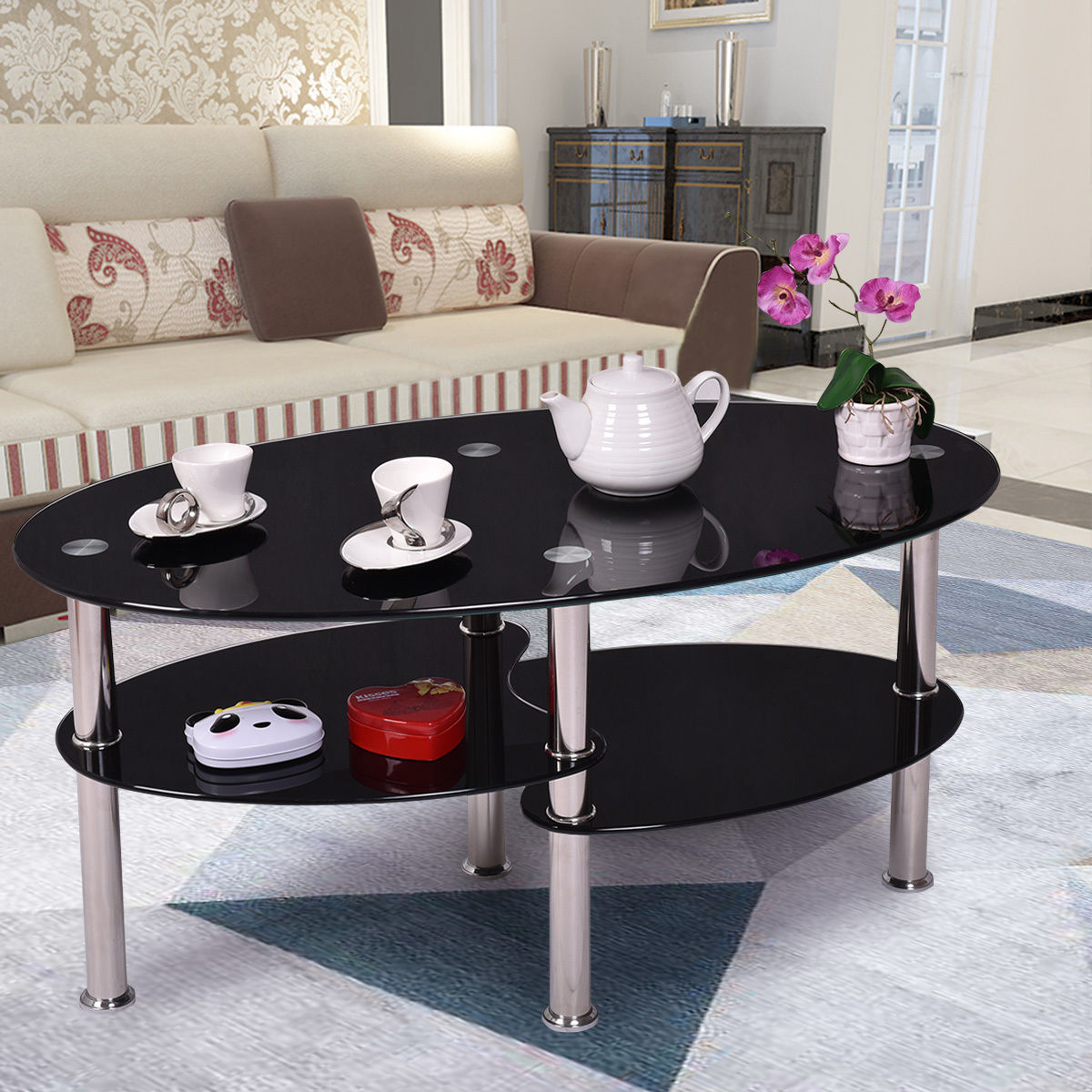 Glass Black Coffee Table Oval Side Shelves Chrome Base
