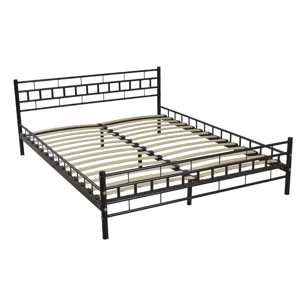 Metal Wood Slats Bed Frame Platform Headboard Footboard Furniture ...