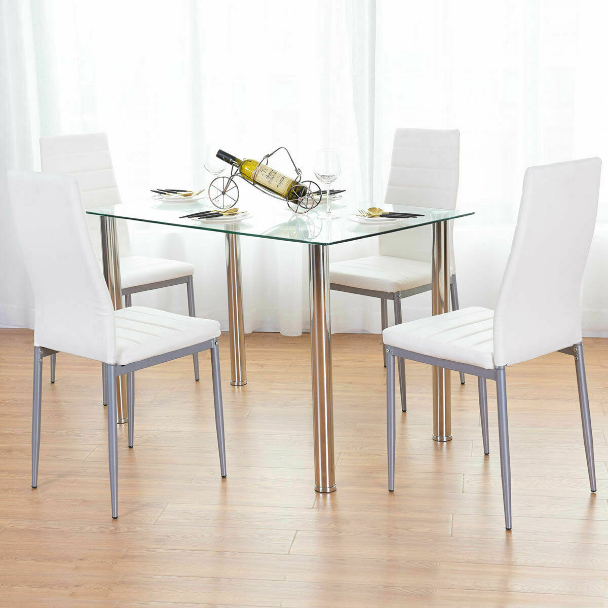 Superb Details About 5 Piece Dining Table Set White Glass And 4 Chairs Faux Leather Kitchen Furniture Pdpeps Interior Chair Design Pdpepsorg