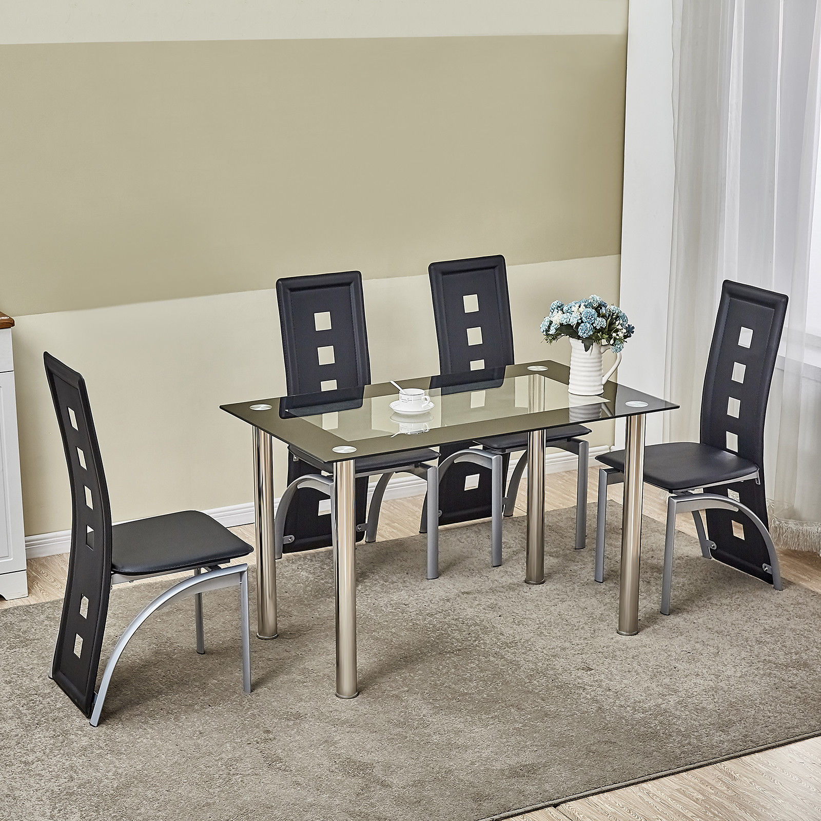 Fabulous Details About 5 Piece Glass Dining Table Set 4 Chairs Room Kitchen Breakfast Furniture Download Free Architecture Designs Viewormadebymaigaardcom