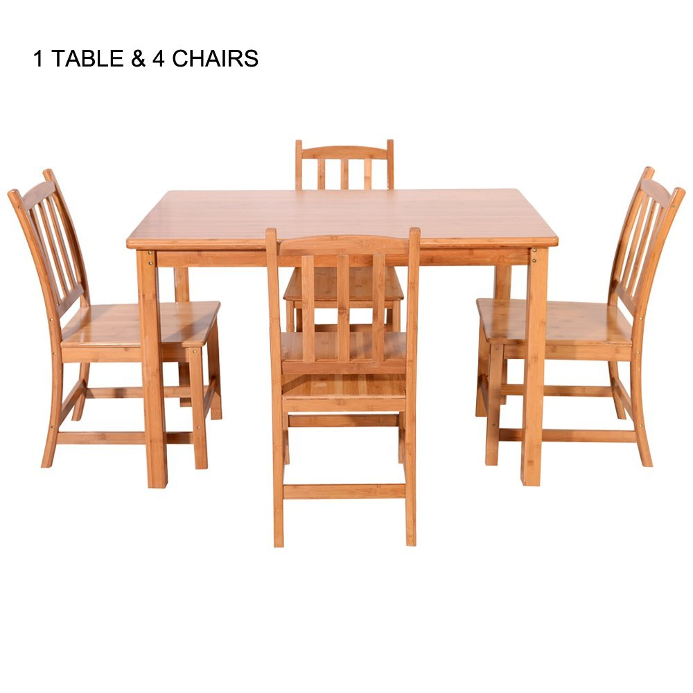 Attractive Hot 5 Piece Dining Table Set Bamboo Kitchen Breakfast Furniture W/4 Chair  Wood
