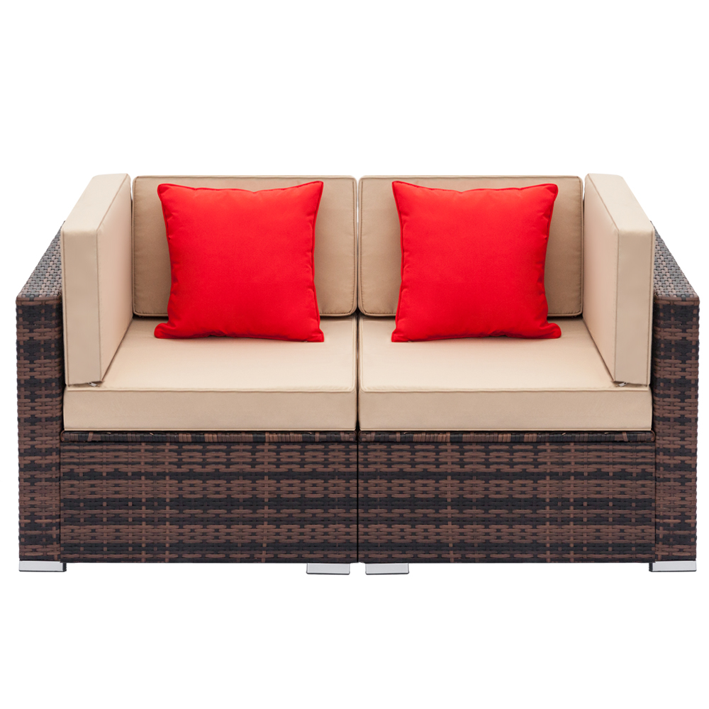 Astounding Details About 2Pcs Outdoor Patio Rattan Sofa For Furniture Sectional Pe Wicker Set Brown Ibusinesslaw Wood Chair Design Ideas Ibusinesslaworg