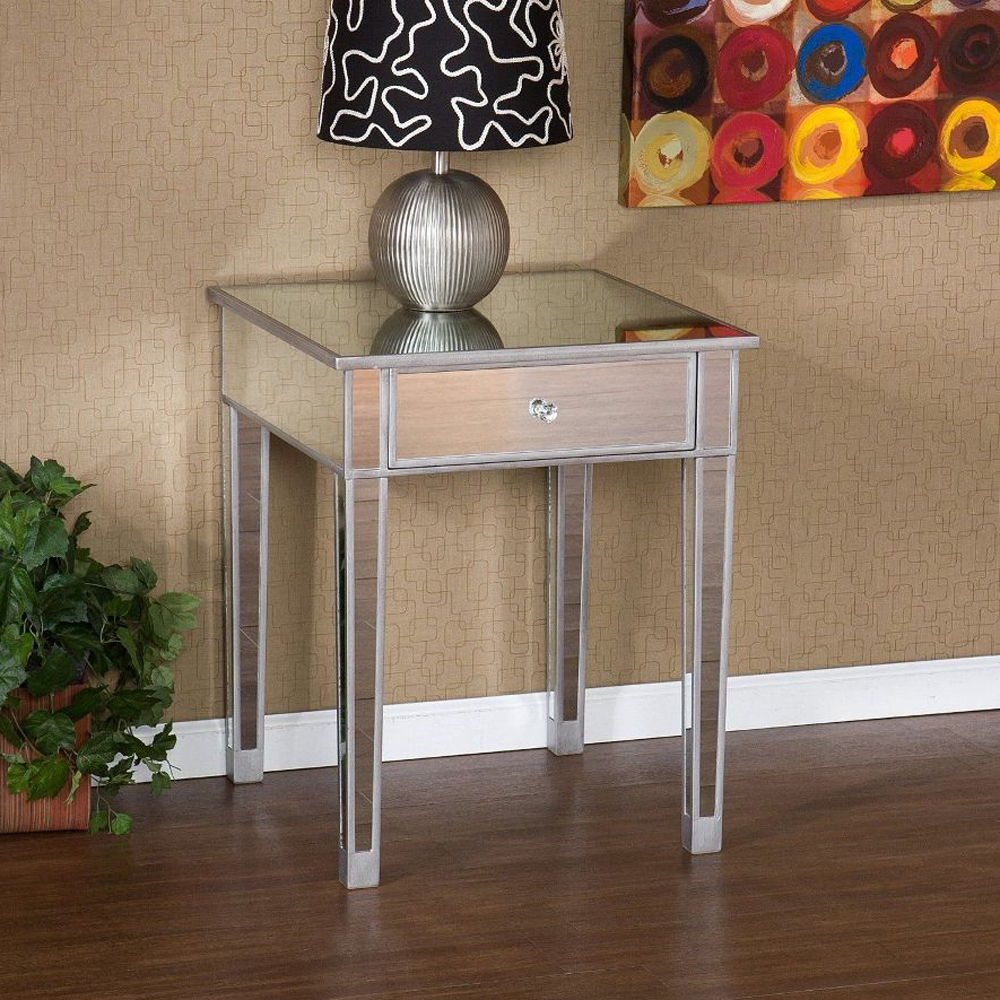 wonderful Mirrored Accent Table With Drawer Part - 15: Mirrored End Table with Drawer Accent Table Home Furniture