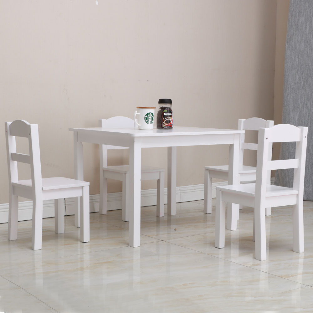 Kids White Square Table and 4 Pastel Chair Play Set Wood ...