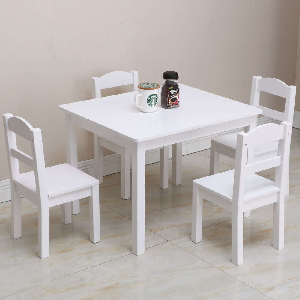 Kids White Square Table And 4 Pastel Chair Play Set Wood