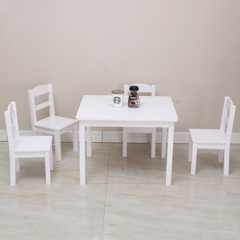 White Tables And Chairs: Kids White Square Table And 4 Pastel Chair Play Set Wood