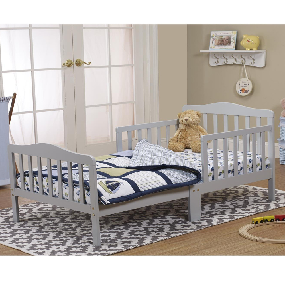 Details about Baby Toddler Bed Kids Children Wood Bedroom Furniture Guard  Safety Rail Gray