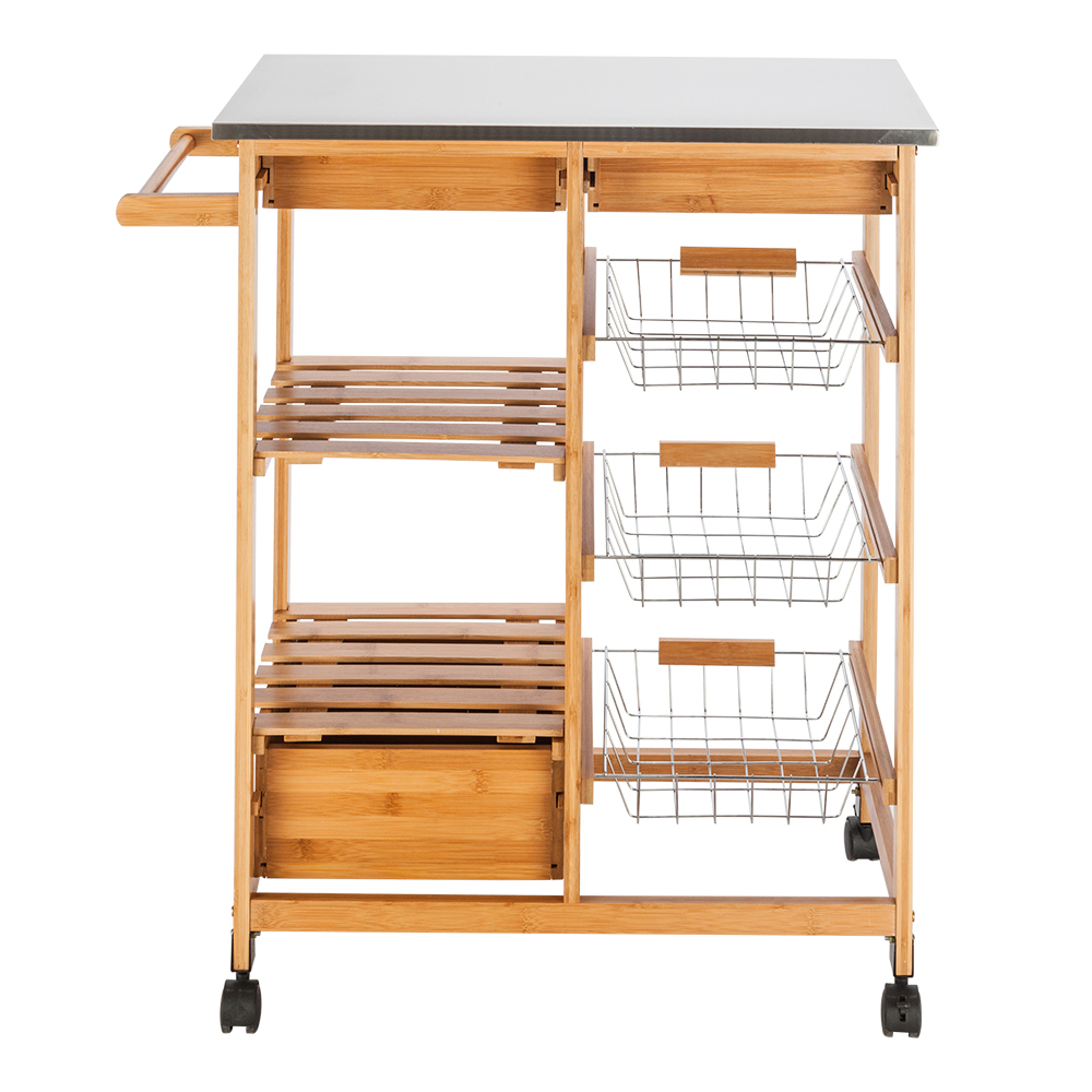 Details about Kitchen Trolley Cart Stainless Steel-Flip Top W/ 2 Drawers  Rolling Wheels