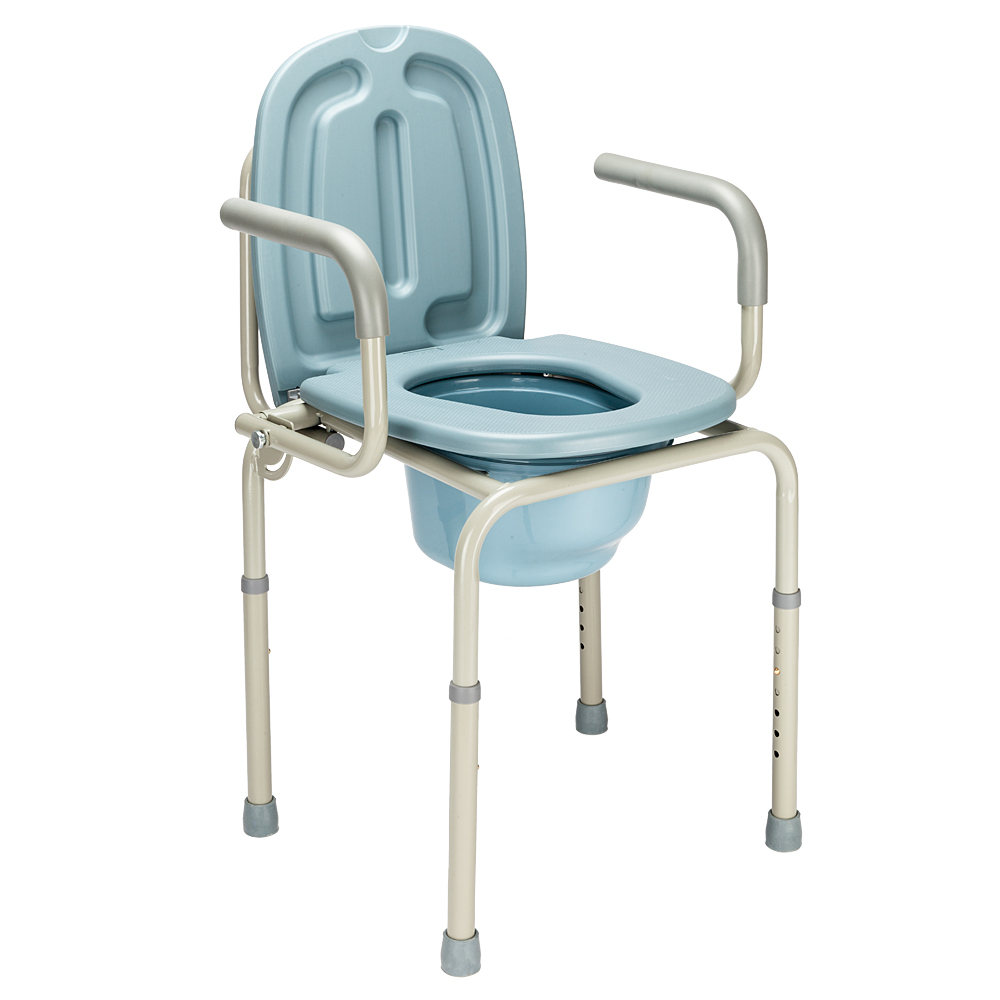 Commode Chair Raised Over Toilet Seat Chair Gray | eBay