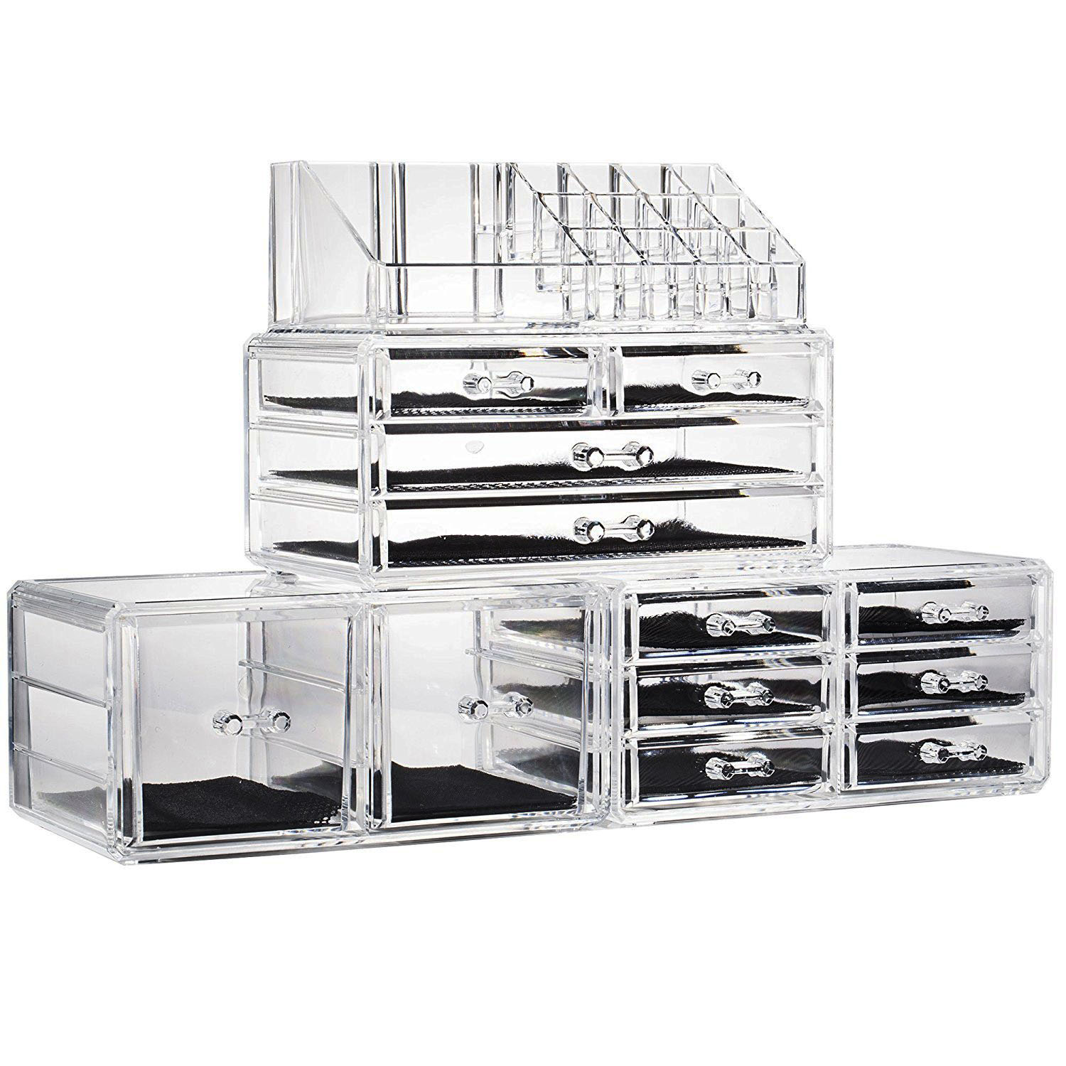 12 Containers Drawers Makeup Organizer Jewelry Storage Acrylic Case