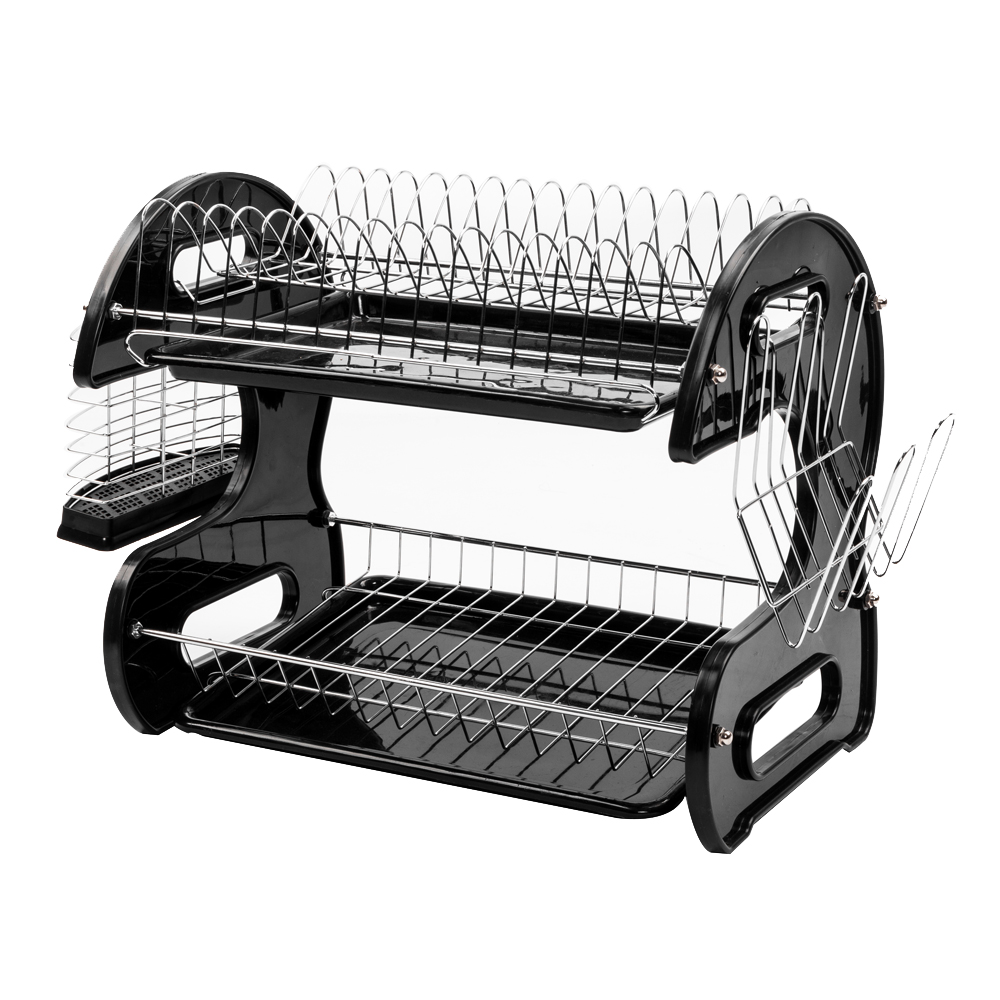 Large Capacity 2 Tier Dish Drainer Drying Rack Kitchen