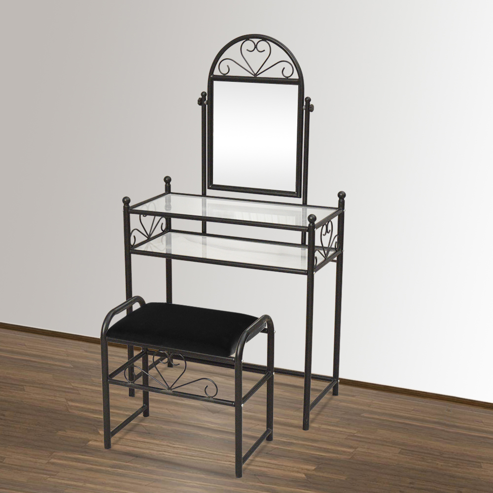 Peachy Details About 2 Piece Vanity Set Dresser Table Seat Mirror Make Up Black Vintage New Ibusinesslaw Wood Chair Design Ideas Ibusinesslaworg