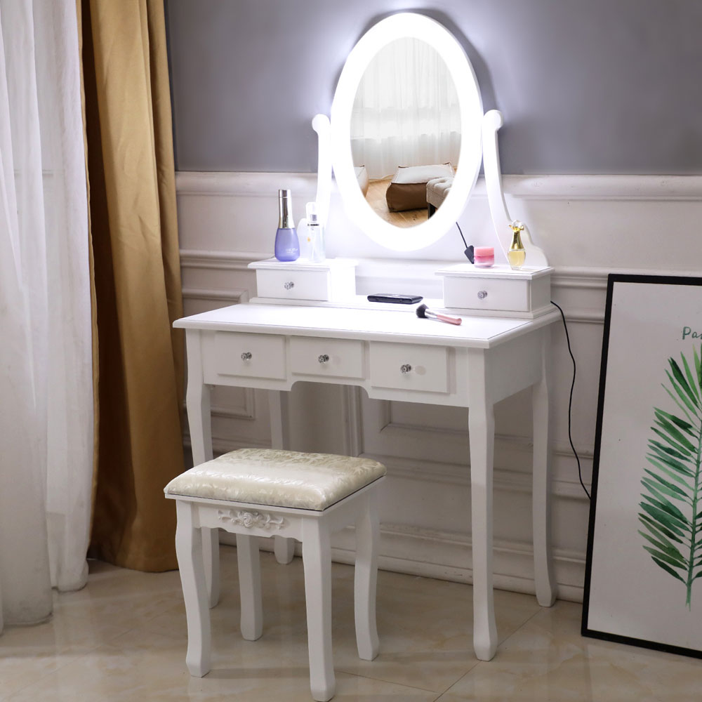 White Makeup Vanity Table Set With 10 Lights Mirror And 5