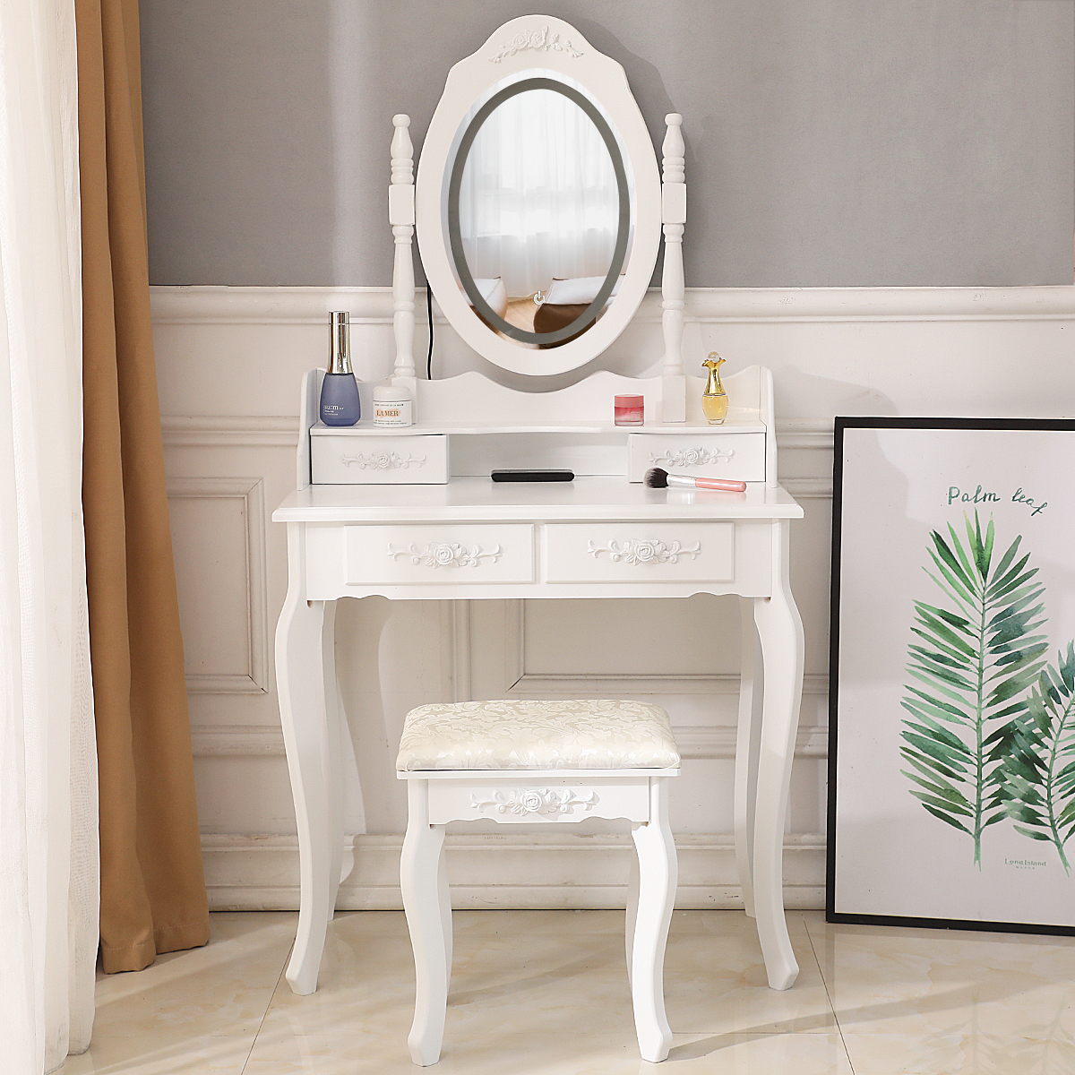 Details about White Makeup Vanity Table Set with Lights Led Mirror and 4  Drawers Dressing Desk