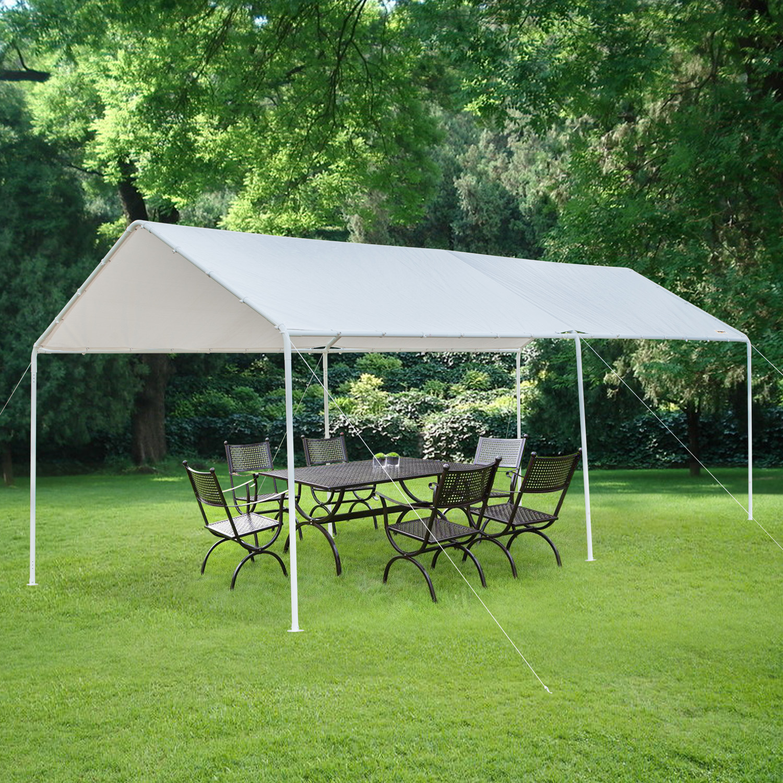 White Heavy Duty Garage Canopy Tent 10x20 FT Steel Carport ...