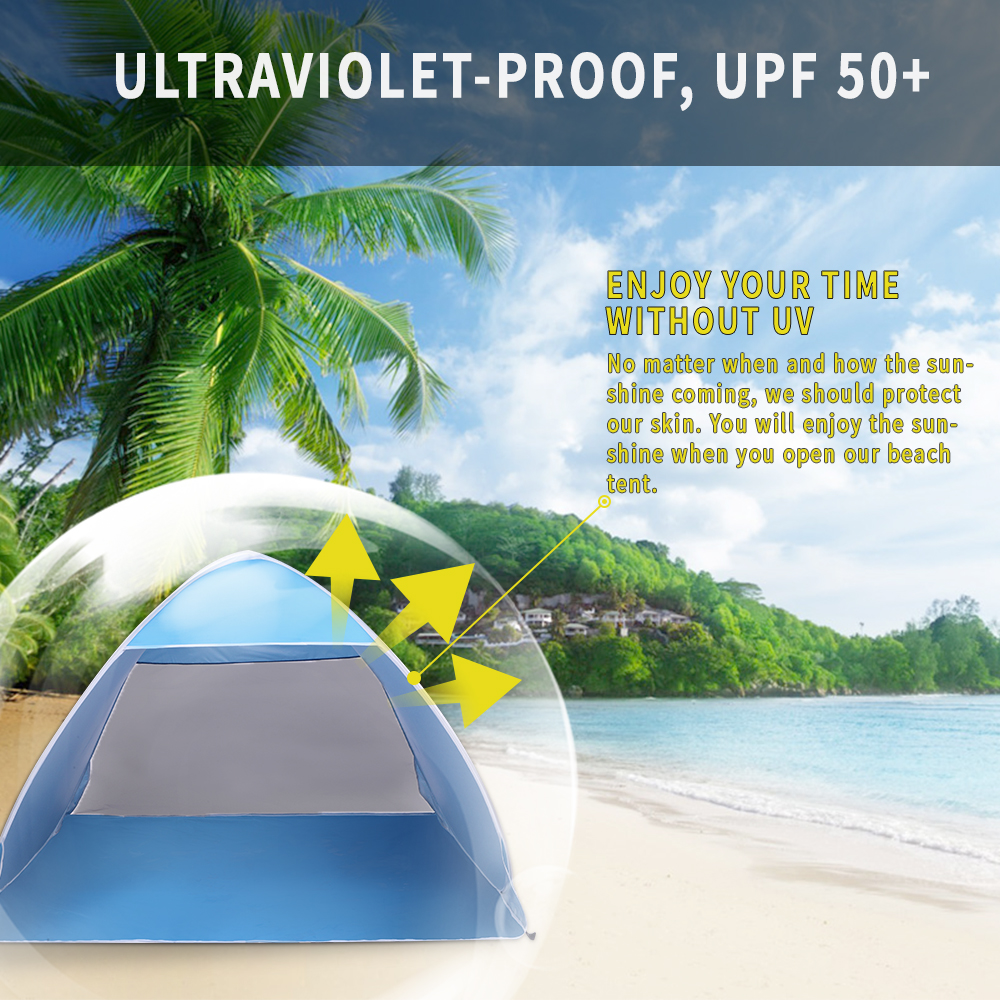 sale retailer d2046 b0569 Details about Pop Up Beach Tent, Sun Shelter Shade Easy Up Portable Anti UV  Cabana Beach Blue